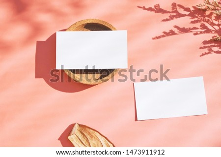 Flat lay of branding identity business name card on orange background with dry flower and leaf, minimal light and shadow concept for design, autumn season style