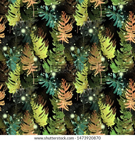 Abstract seamless pattern of stylized tree branches. Handmade watercolor. Design of wallpaper and fabric.	 #1473920870