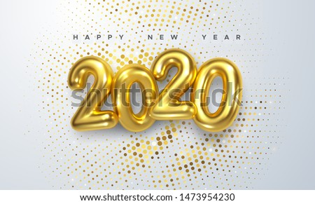 Happy New 2020 Year. Holiday vector illustration of golden metallic numbers 2020 and sparkling glitters pattern. Realistic 3d sign. Festive poster or banner design #1473954230