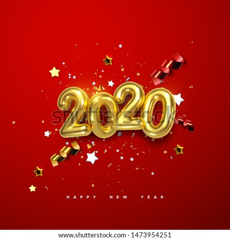 Realistic 2020 golden numbers and festive confetti, stars and spiral ribbons on red background. Vector holiday illustration. Happy New 2020 Year. New year ornament. Decoration element with tinsel #1473954251