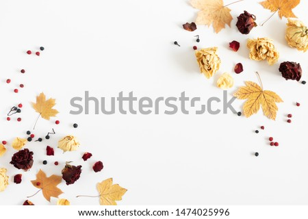 Autumn creative composition. Frame made of dried autumn leaves, berries, flowers on white background. Fall background. Flat lay, top view, copy space #1474025996
