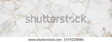 Luxury White Gold Marble texture background vector. Panoramic Marbling texture design for Banner, invitation, wallpaper, headers, website, print ads, packaging design template. Royalty-Free Stock Photo #1474228886