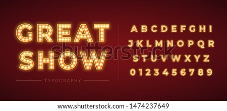 3d light bulb alphabet with red frame isolated on dark red background. Broadway show style retro glowing font. Vector illustration. Royalty-Free Stock Photo #1474237649