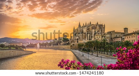 Landscape with Cathedral La Seu at sunset time in Palma de Mallorca islands, Spain Royalty-Free Stock Photo #1474241180