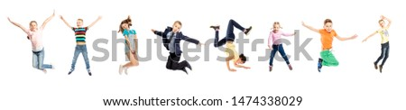 Set of images of jumping children of a different age. Isolated on a white background. Panorama. #1474338029
