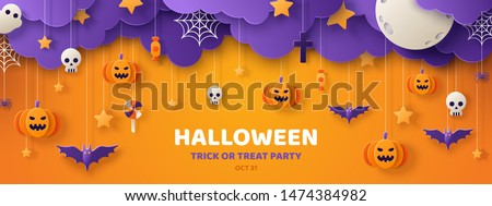 Happy Halloween banner or party invitation background with clouds,bats and pumpkins in paper cut style. Vector illustration. Full moon in the sky, spiders web and stars. Place for text
