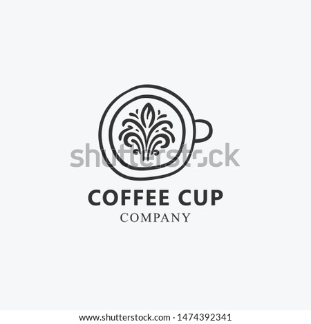 cup of coffee hand drawn logo template #1474392341