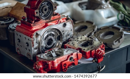 A Hydraulic Hydrostatic Piston Pump Rotating Group Service Royalty-Free Stock Photo #1474392677