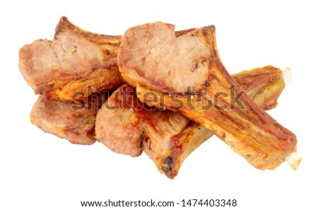 Group of grilled lamb cutlets isolated on a white background #1474403348