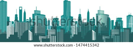 Silhouettes of houses of the city at night. Panorama of the metropolis. Vector illustration on white background Royalty-Free Stock Photo #1474415342