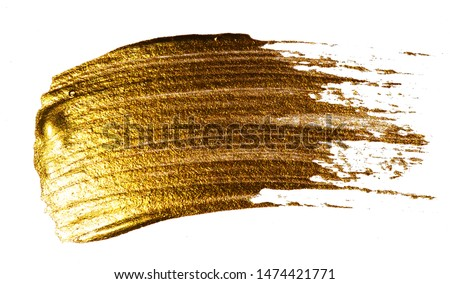 Creative brushstrokes of gold paint isolated on a white background. Gold paint texture. Smears of cosmetics, blush, highlighter, eye shadow, lipstick. #1474421771