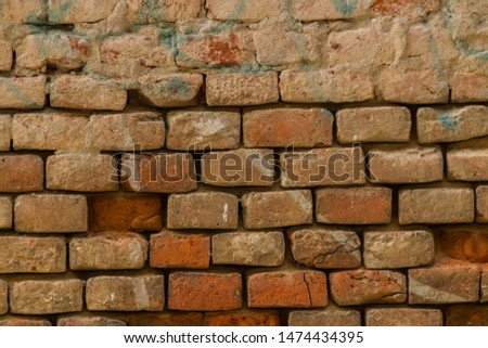Old degraded brick wall, background texture #1474434395