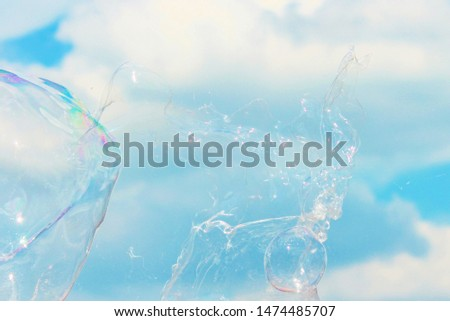 bubble bubbles popping abstract close-up background modern simple design with copyspace stock photo