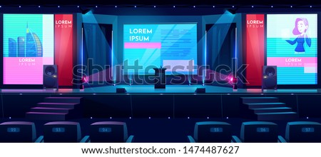 Hall for business conferences, investment projects presentations, shareholders event or meeting with slides on projection screens, sittings rows and tribune on stage cartoon vector illustration Royalty-Free Stock Photo #1474487627