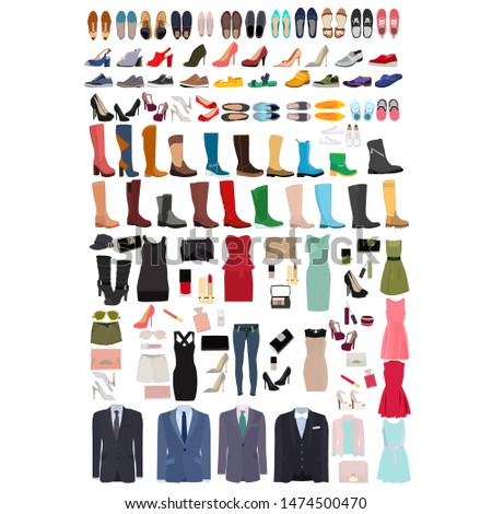 vector, isolated, set of shoes and clothes #1474500470