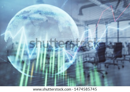 Stock and bond market graph and world map with trading desk bank office interior on background. Multi exposure. Concept of international finance #1474585745