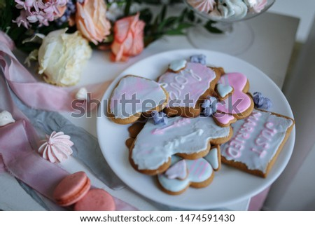 bridal cookies and a bridal bouquet #1474591430