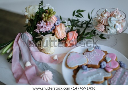 bridal cookies and a bridal bouquet #1474591436