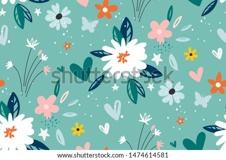 Garden flower, plants ,botanical ,seamless pattern vector design for fashion,fabric,wallpaper and all prints on green mint background color. Cute pattern in small flower. Small colorful flowers. #1474614581