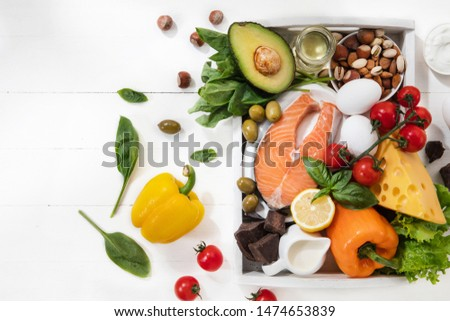Ketogenic low carbs diet - food selection on white wooden background. Balanced healthy organic ingredients of high content of fats. Nutrition for the heart and blood vessels. Meat, fish and vegetables #1474653839