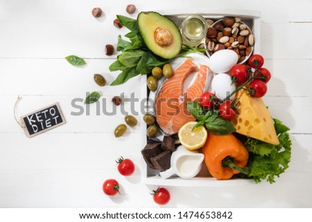 Ketogenic low carbs diet - food selection on white wooden background. Balanced healthy organic ingredients of high content of fats. Nutrition for the heart and blood vessels. Meat, fish and vegetables #1474653842