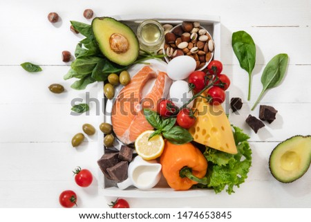 Ketogenic low carbs diet - food selection on white wooden background. Balanced healthy organic ingredients of high content of fats. Nutrition for the heart and blood vessels. Meat, fish and vegetables #1474653845