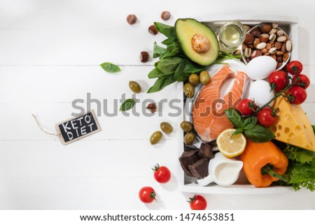 Ketogenic low carbs diet - food selection on white wooden background. Balanced healthy organic ingredients of high content of fats. Nutrition for the heart and blood vessels. Meat, fish and vegetables #1474653851