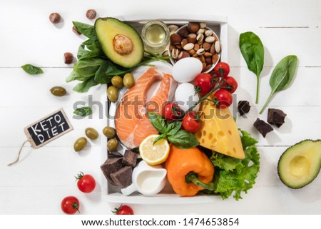 Ketogenic low carbs diet - food selection on white wooden background. Balanced healthy organic ingredients of high content of fats. Nutrition for the heart and blood vessels. Meat, fish and vegetables #1474653854