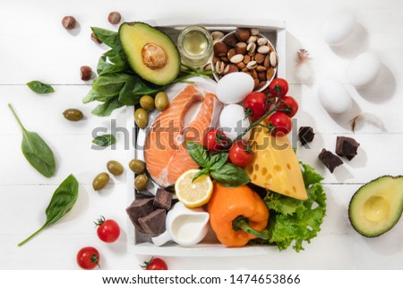 Ketogenic low carbs diet - food selection on white wooden background. Balanced healthy organic ingredients of high content of fats. Nutrition for the heart and blood vessels. Meat, fish and vegetables #1474653866