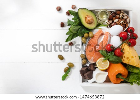 Ketogenic low carbs diet - food selection on white background. Balanced healthy organic ingredients of high content of fats for the heart and blood vessels. Meat, fish and vegetables. Copyspace. #1474653872