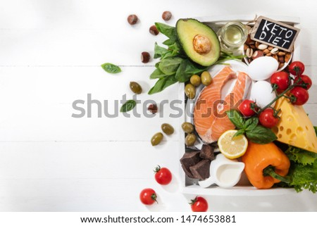 Ketogenic low carbs diet - food selection on white background. Balanced healthy organic ingredients of high content of fats for the heart and blood vessels. Meat, fish and vegetables. Copyspace. #1474653881