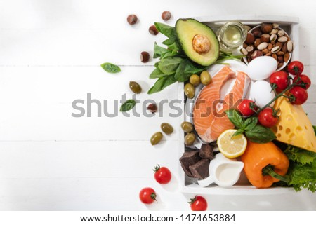 Ketogenic low carbs diet - food selection on white background. Balanced healthy organic ingredients of high content of fats for the heart and blood vessels. Meat, fish and vegetables. Copyspace. #1474653884