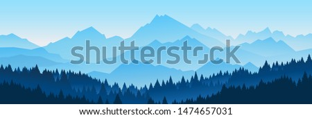 Vector illustration of beautiful dark blue mountain landscape with fog and forest. sunrise and sunset in mountains Royalty-Free Stock Photo #1474657031