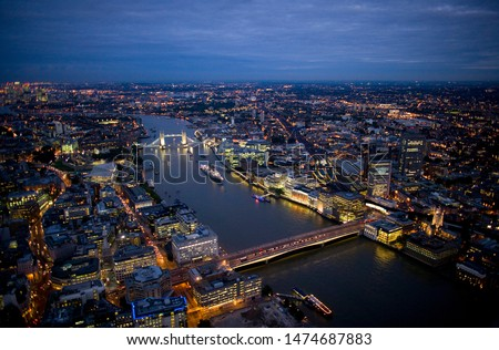 Aerial night view of Tower Bridge and London Bridge on August 6, 2007 in London #1474687883