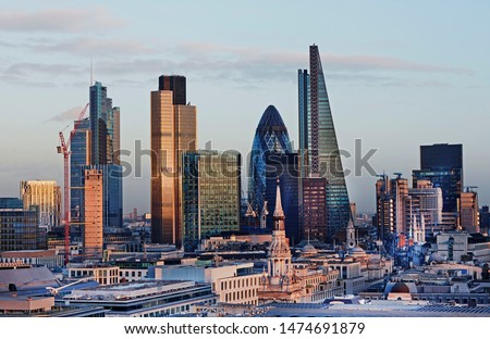 Elevated view of the City of London at dusk #1474691879