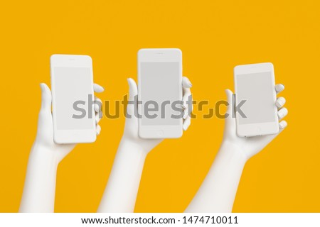 Mobile Phone hold, white hand holding smart phone isolated on yellow, female hand statue with smartphone 3d illustration.