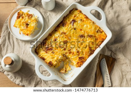 Homemade Bacon Amish Breakfast Casserole in a Dish #1474776713
