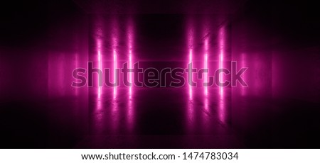 Neon Glowing Lights Retro Cyber Virtual Purple Luminous Fluorescent Tube Lights Abstract Grunge Concrete Tunnel Room Sci Fi Futuristic Stage Empty Night Background 3D Rendering Illustration
