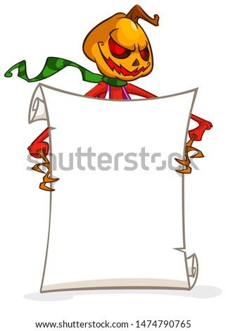 Cartoon jack o lantern pumpkin head holding blank empty scroll paper for text. Halloween illustration
