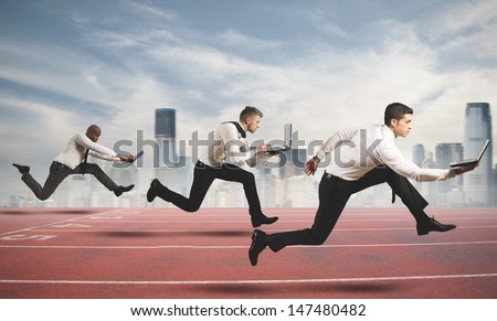 Competition in business concept with running businesspeople Royalty-Free Stock Photo #147480482