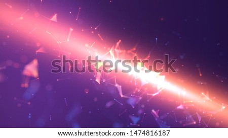 Lines connected triangles. Network sphere system. Digital data plexus technology construction. Connection or communication. Futuristic purple abstract vibrant multicolored glowing motion background.  #1474816187