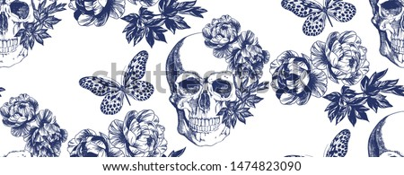 Skull and butterfly with flower on white background. Typographic graphic and seamless pattern