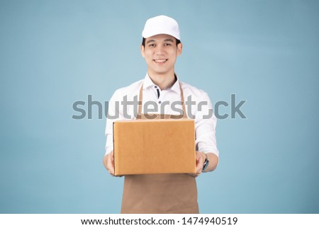 Shipping services by man handsome for SME  Professional messenger take box package #1474940519