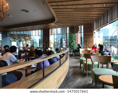 Bangkok , Thailand , 10/8/19 : inside of Starbucks Cafe Central Rama 3. Starbucks Corporation is an American global coffee company and coffeehouse chain based in Central Rama 3. #1475017661