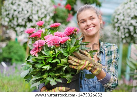 Young woman gardening in greenhouse.She selecting flowers. #1475026652