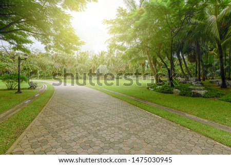 Garden walkways surrounded by green trees #1475030945