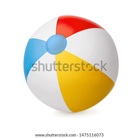 Clorful Inflatable beach ball isolated on white background  #1475116073