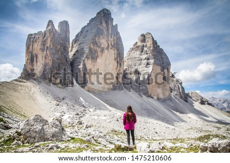 The Three peaks of Lavaredo (Italian: Tre Cime di Lavaredo), Nature reserve in the Dolomites, Northern Italy. One of the best-known mountain groups in the Alps. UNESCO world heritage site. Copy space. Royalty-Free Stock Photo #1475210606