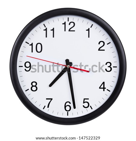 Round office wall clock shows half past #147522329