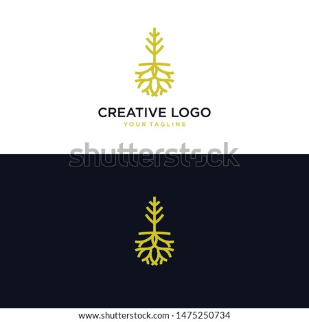 abstract tree and root logos. exclusive root logo. root and house logo. tree logo and root logo emblem - Vector #1475250734